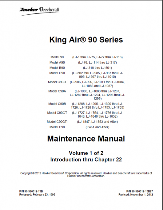 King Air 90 Maintenance Manual