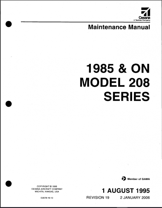 Cessna 208 Caravan Maintenance Manual