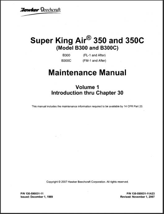 King Air B300/350 Manual Downloads