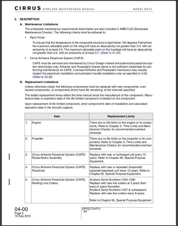 SR20 Cirrus Maintenance Manual Download